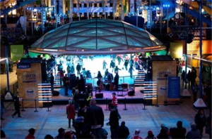 Ice rink and band stage