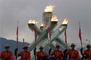 Mounties guarding the flame