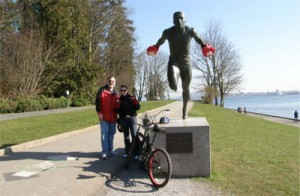 Biking around Stanley Park – every sculpture had those red mittens on