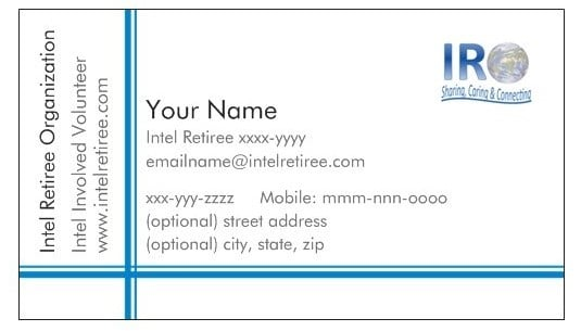 Intel retiree business card intel retiree organization to create your personalize card colourmoves